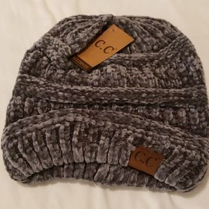 CC Exclusives Chenille Ribbed Grey Beanie